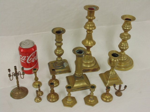 Collection of early English brass sticks
