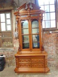Carved walnut Victorian, renaissance revival cabinet