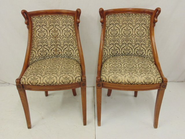 Pair decorative chairs with curved swans