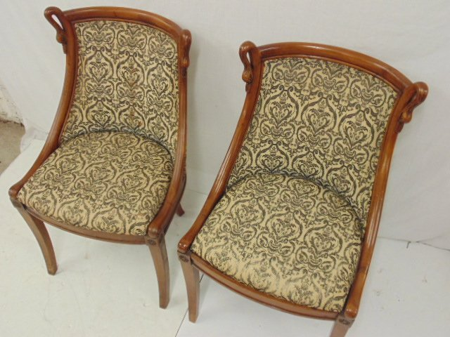 Pair decorative chairs with curved swans - 2
