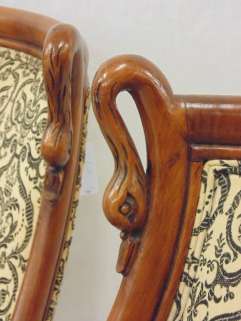 Pair decorative chairs with curved swans - 3