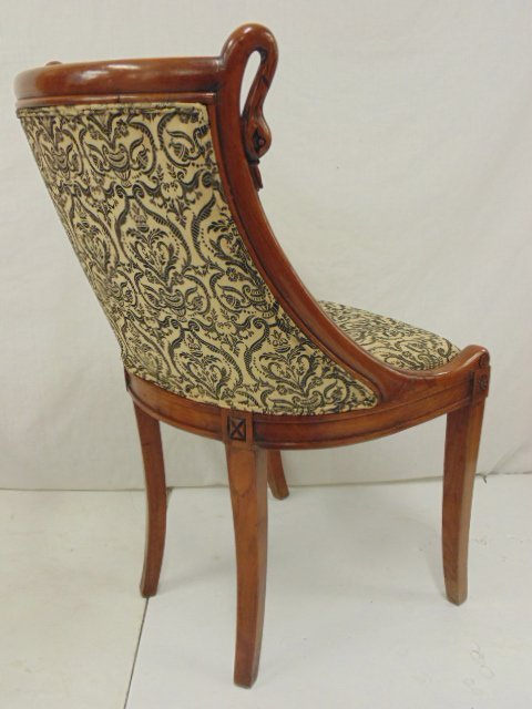 Pair decorative chairs with curved swans - 6