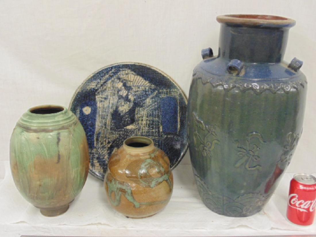 4 piece studio art pottery lot, Henriksen, R. Cornell