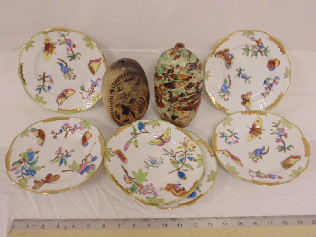 6 early Herend deep plates & 2 early Hungarian bottles