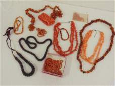Lot coral  amber jewelry blood coral some faux