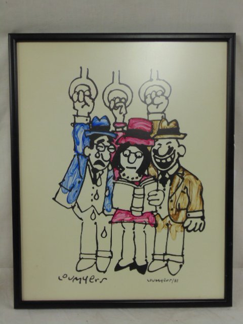 Watercolor, cartoon, Lou Myers, figures reading