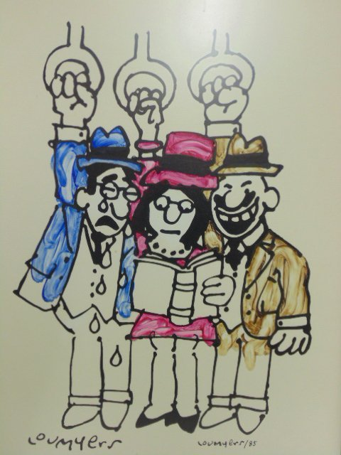 Watercolor, cartoon, Lou Myers, figures reading - 2