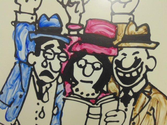 Watercolor, cartoon, Lou Myers, figures reading - 3