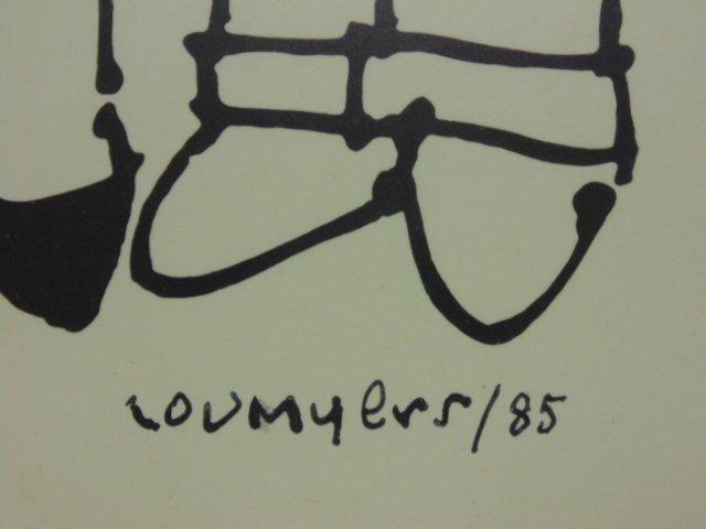 Watercolor, cartoon, Lou Myers, figures reading - 5