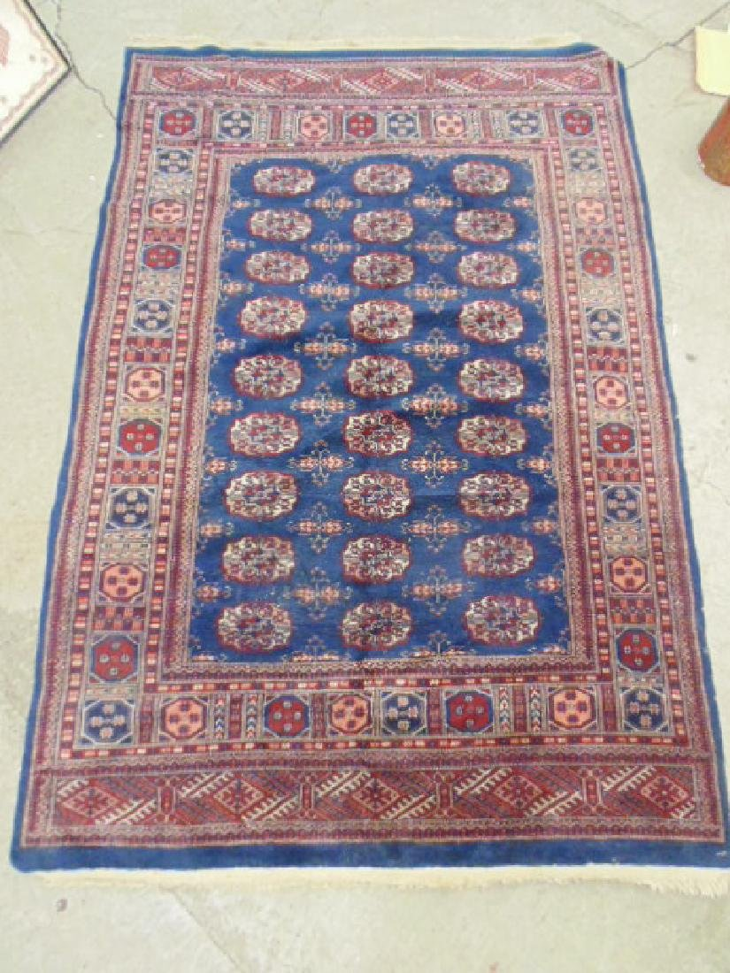 "Bokhara carpet, blue & red, 7'7"" by 5'2"""