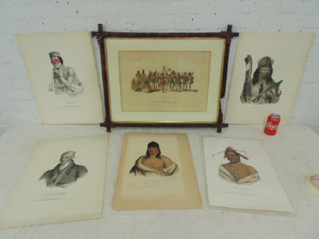 6 Native Indian hand colored lithographic prints,