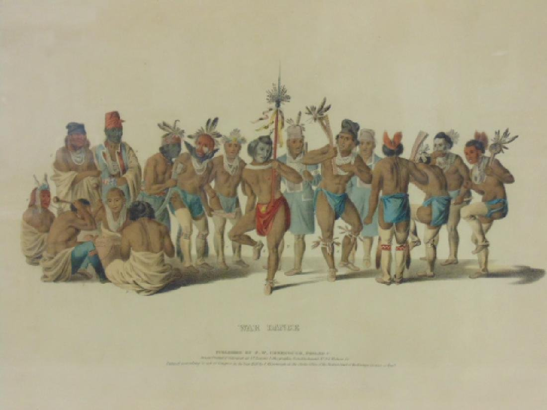 6 Native Indian hand colored lithographic prints, - 6