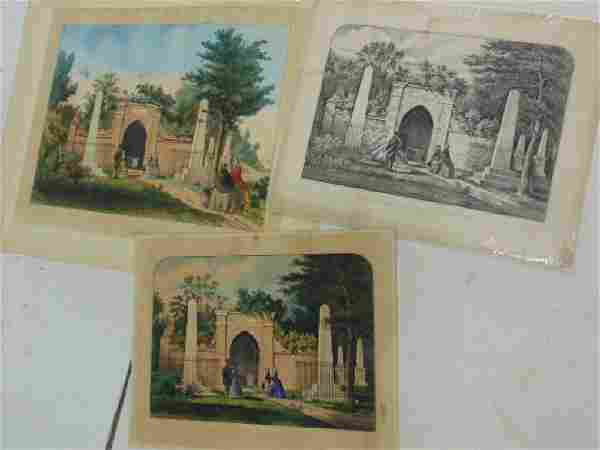 """4 Currier & Ives prints, """"The Tomb of Washington, Mount"""