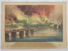 "Currier & Ives print, ""The Fall of Richmond Va. on the"