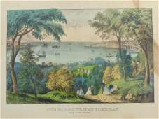 Currier  Ives print The Narrows New York Bay from
