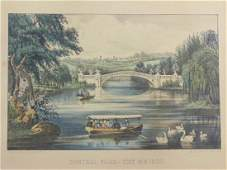"""Currier & Ives print, """"Central Park-The Bridge"""", 11"""" by"""