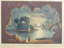 """Currier & Ives print, """"The Magic Lake"""", 14"""" by 18"""""""