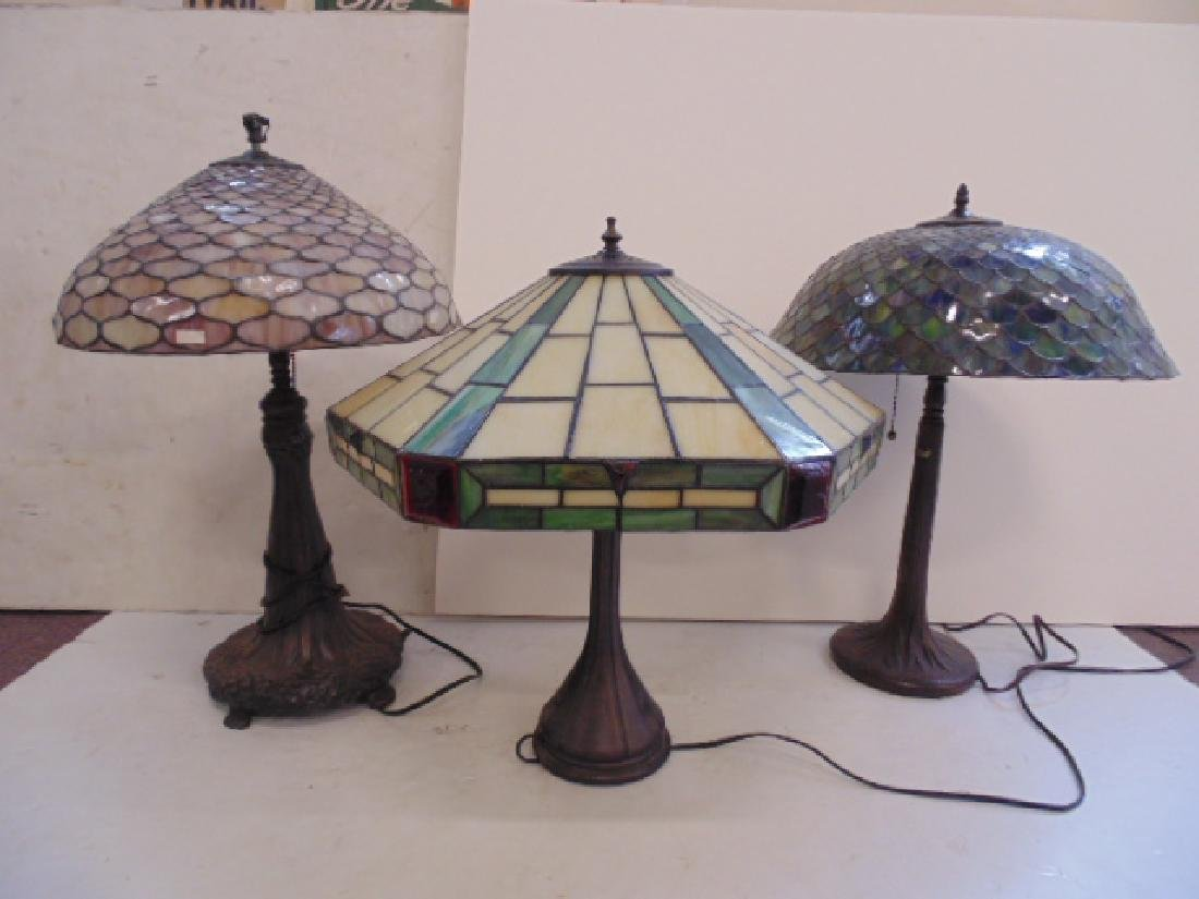 3 table lamps with leaded dome shades, not old.