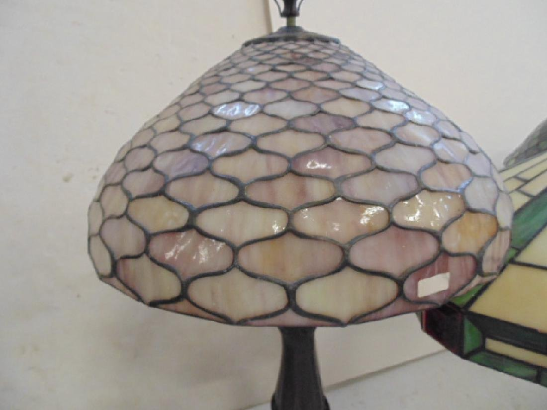 3 table lamps with leaded dome shades, not old. - 2