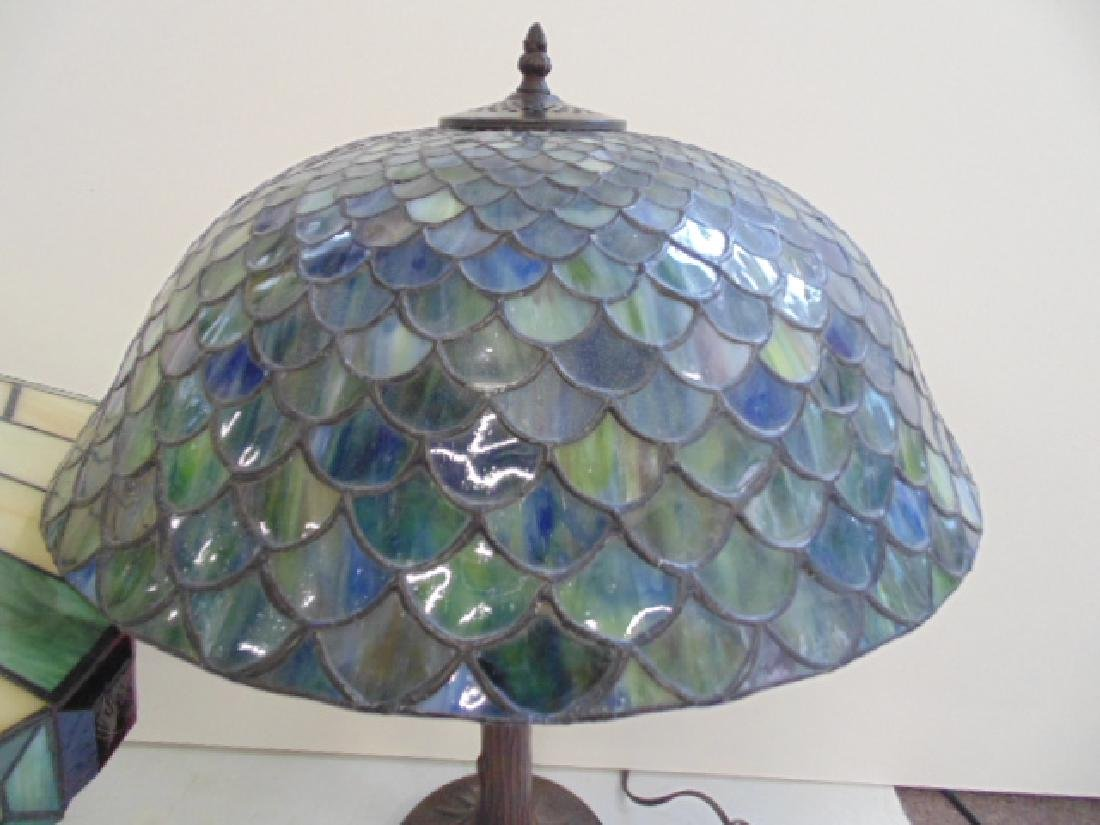 3 table lamps with leaded dome shades, not old. - 3