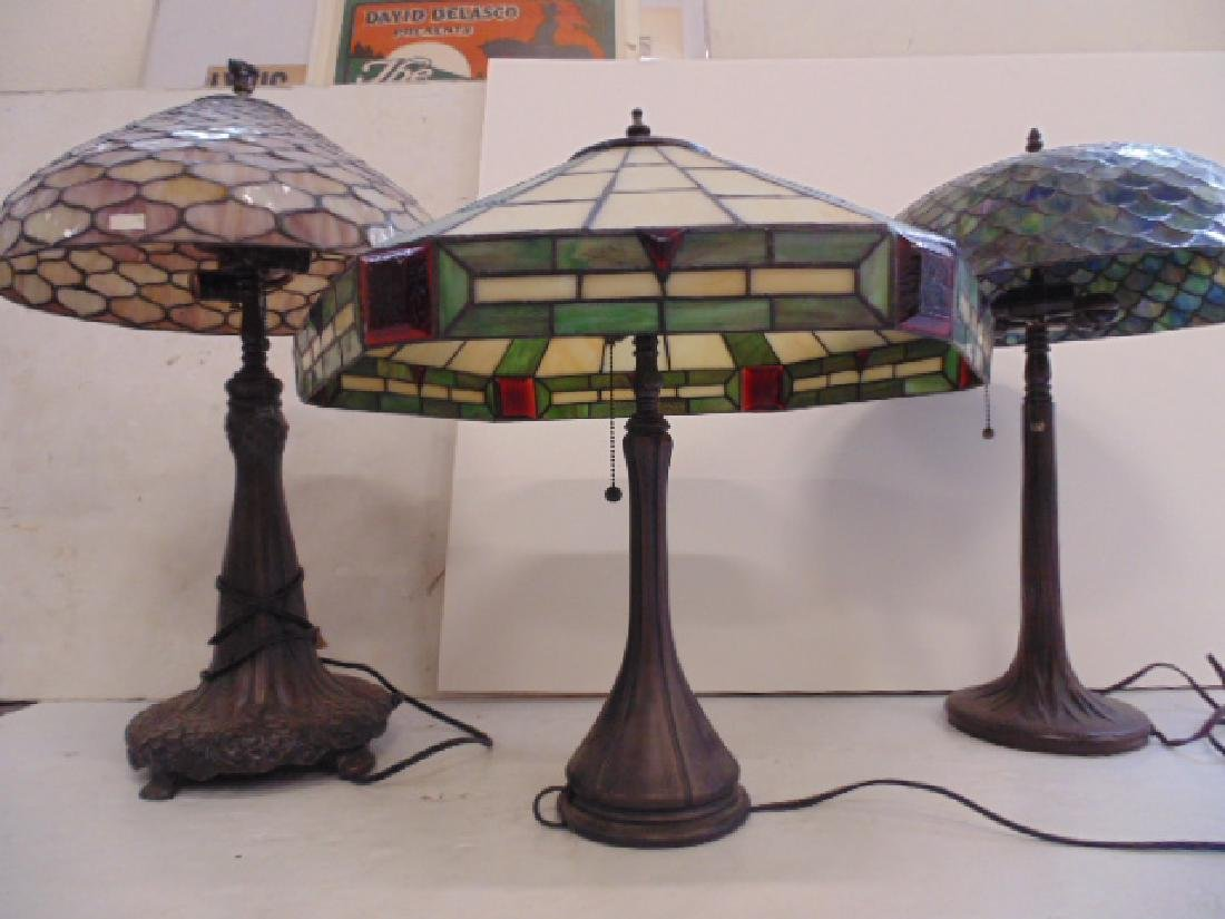 3 table lamps with leaded dome shades, not old. - 4