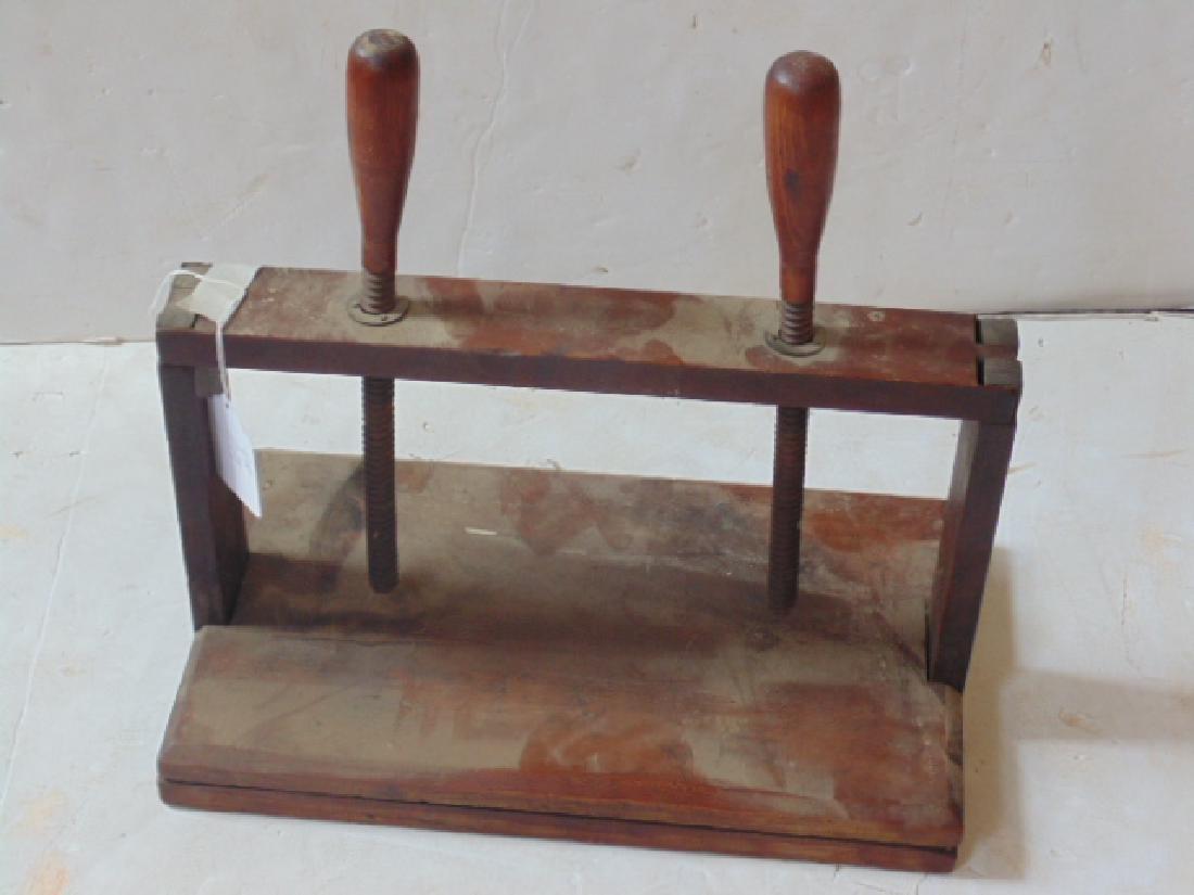 Antique wood book press