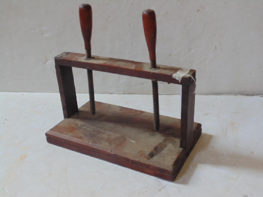Antique wood book press - 2