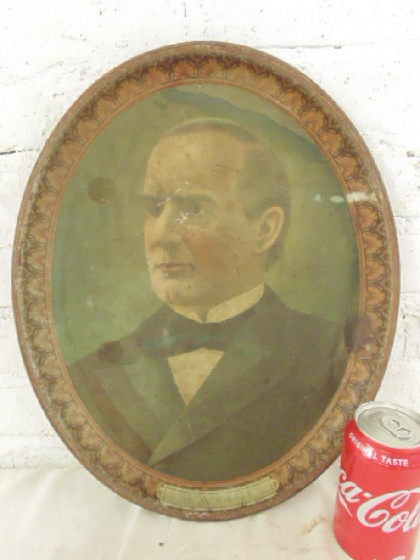 Tole serving tray, portrait of William McKinley, oval,