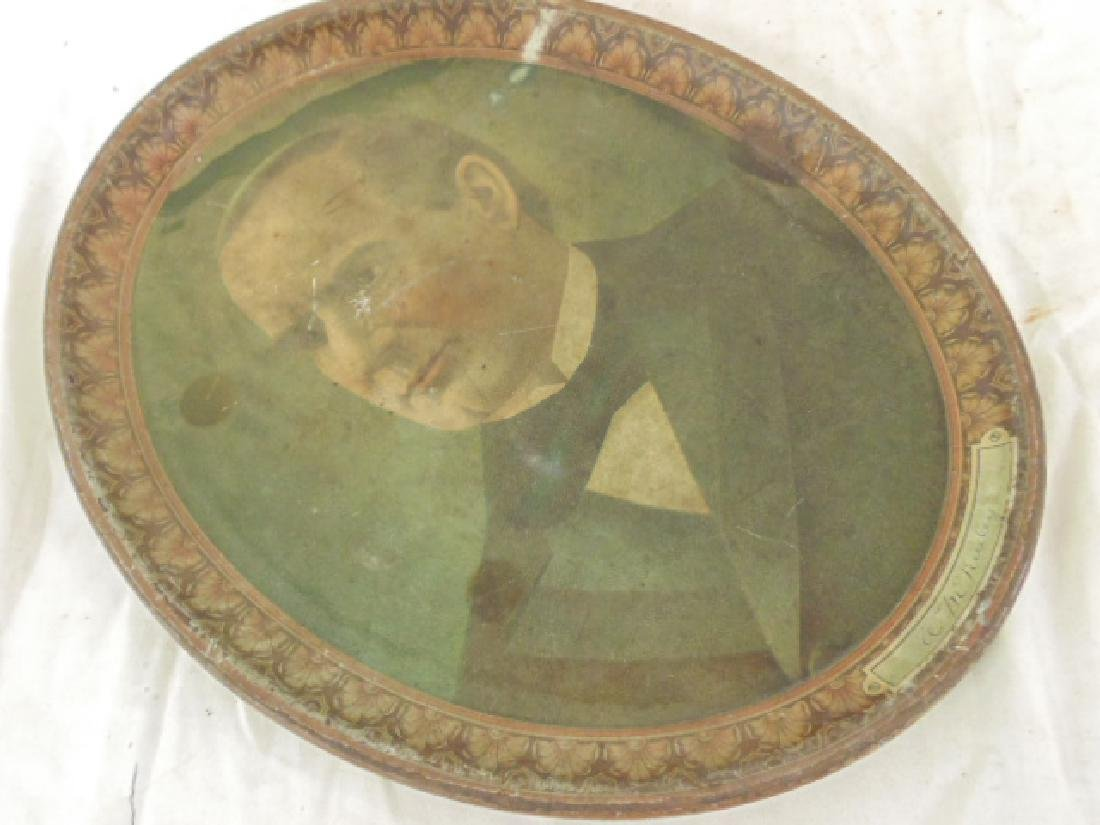 Tole serving tray, portrait of William McKinley, oval, - 2