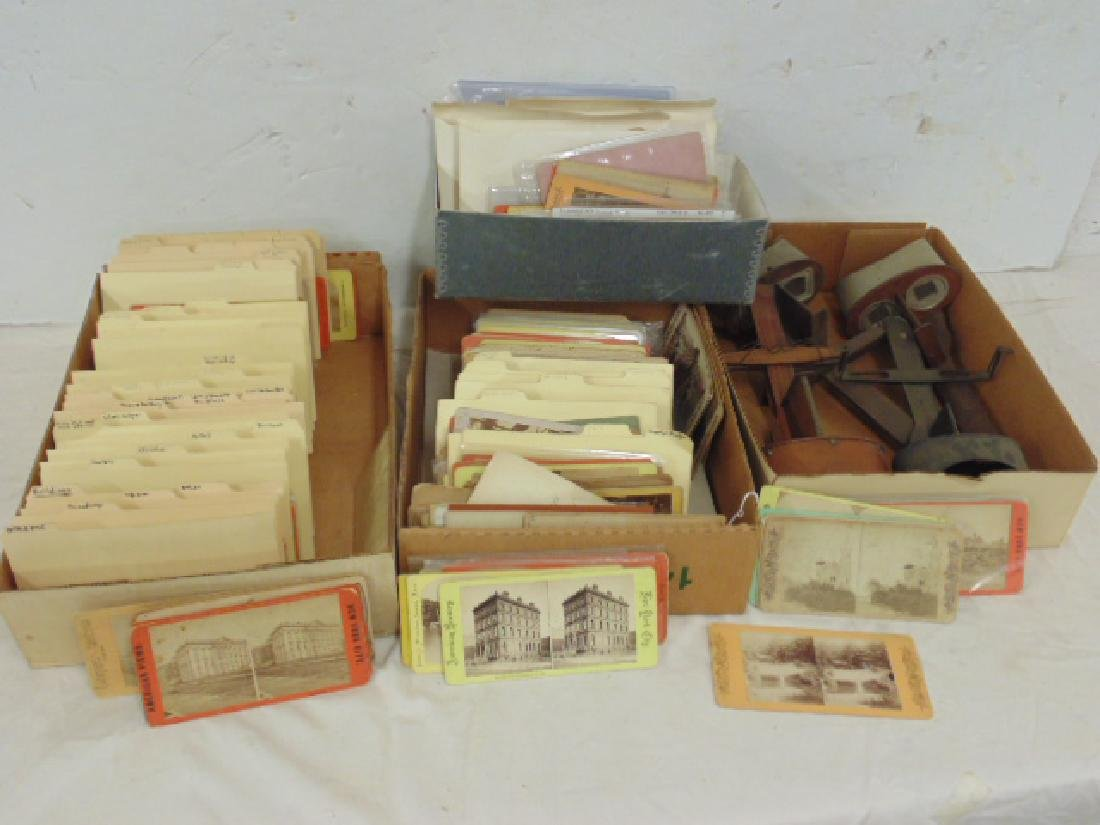 Huge lot stereoscopic cards & viewers, many early New