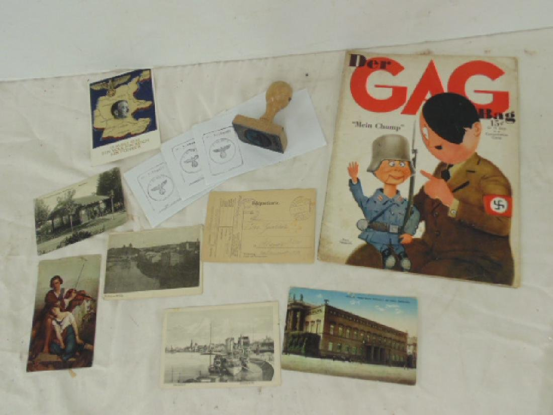 Lot WWII German Nazi postcards, seal & satire magazine,