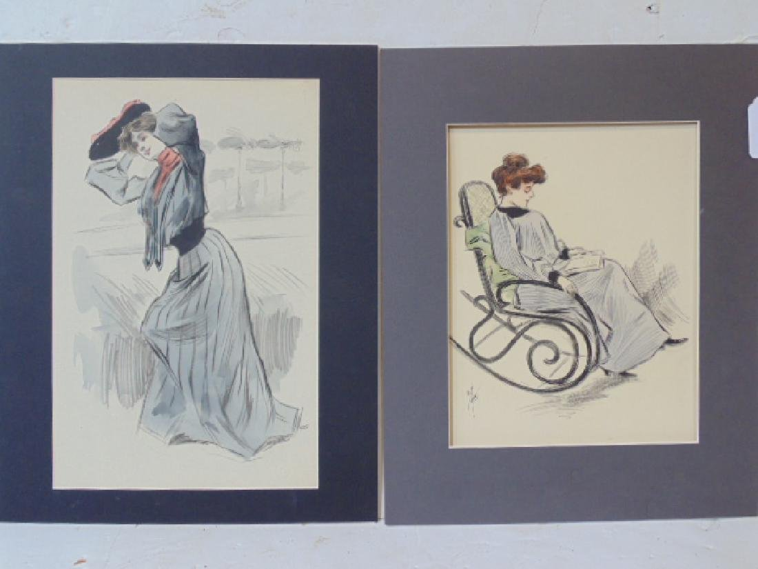2 paintings, watercolors, portraits of women, fashion,