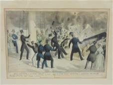 Currier  Ives print Awful explosion of US Steam