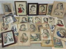 Huge lot of Currier & Ives, Baillie prints including