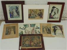 Lot Currier  Ives  Kellogg prints including My Love