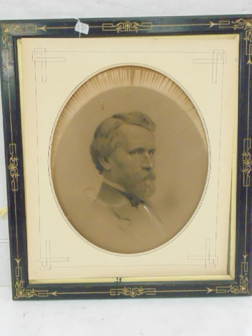 Drawing, portrait gentleman, Victorian frame, sgd. ill.
