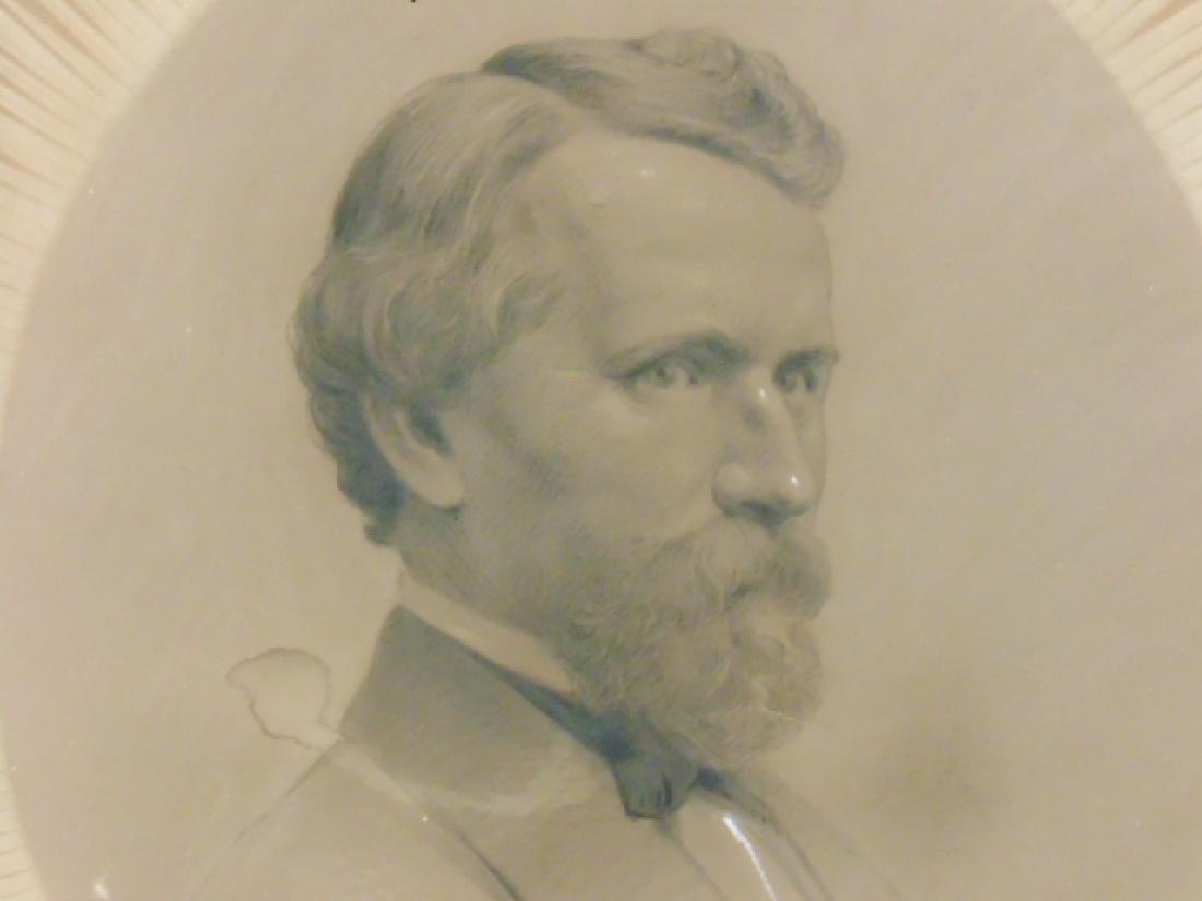 Drawing, portrait gentleman, Victorian frame, sgd. ill. - 2