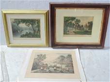 3 Hudson Valley Currier & Ives prints, West Point