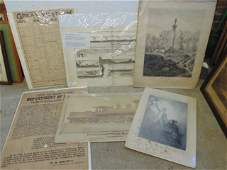 Lot engravings RR posters  photograph includes litho