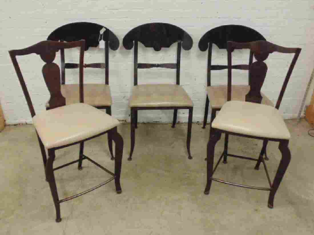 Set 5 iron chairs, 3 dining chairs & 2 bar chairs