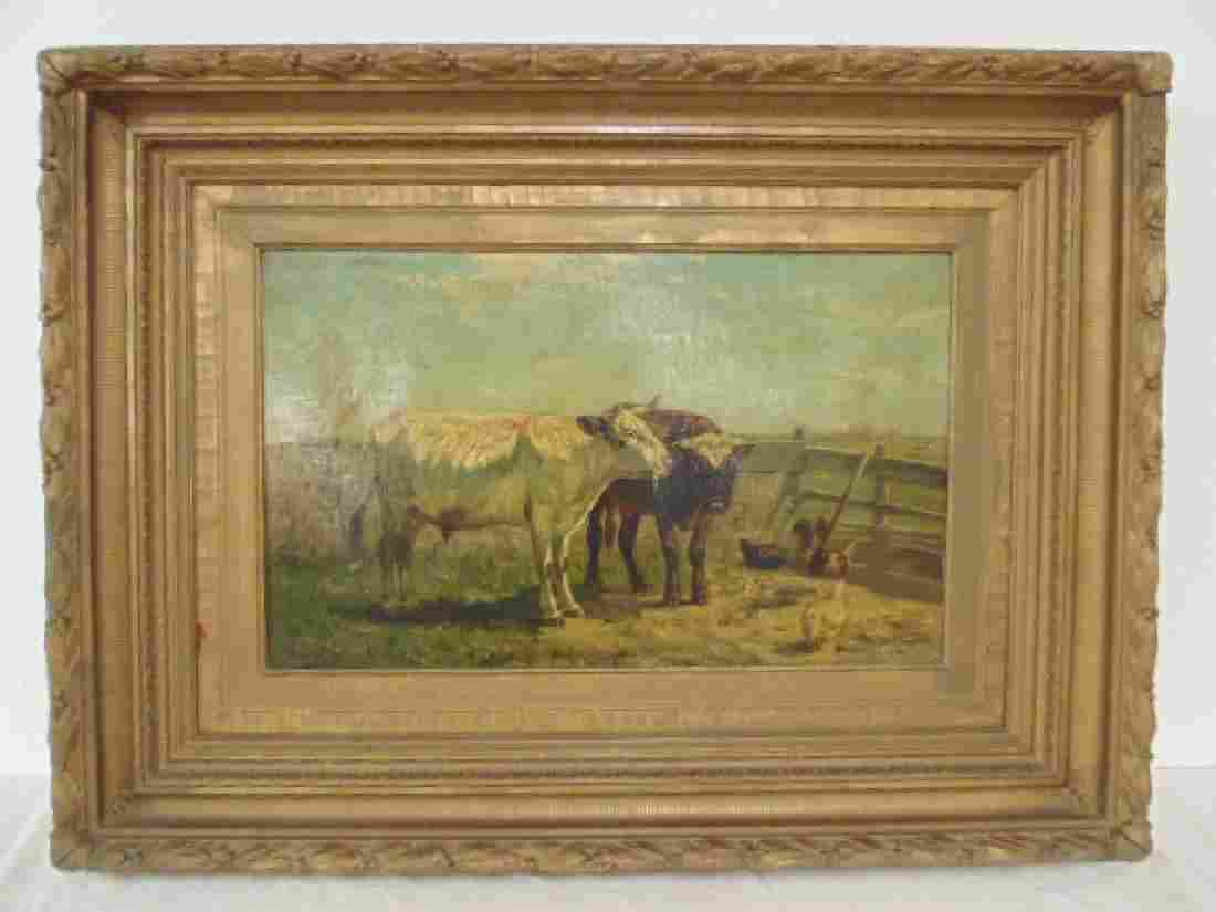 Painting, cattle, cows & chicken, signed
