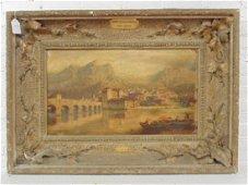 "Painting, ""Ponte di Pescarenico"", signed Ercole Calvi"