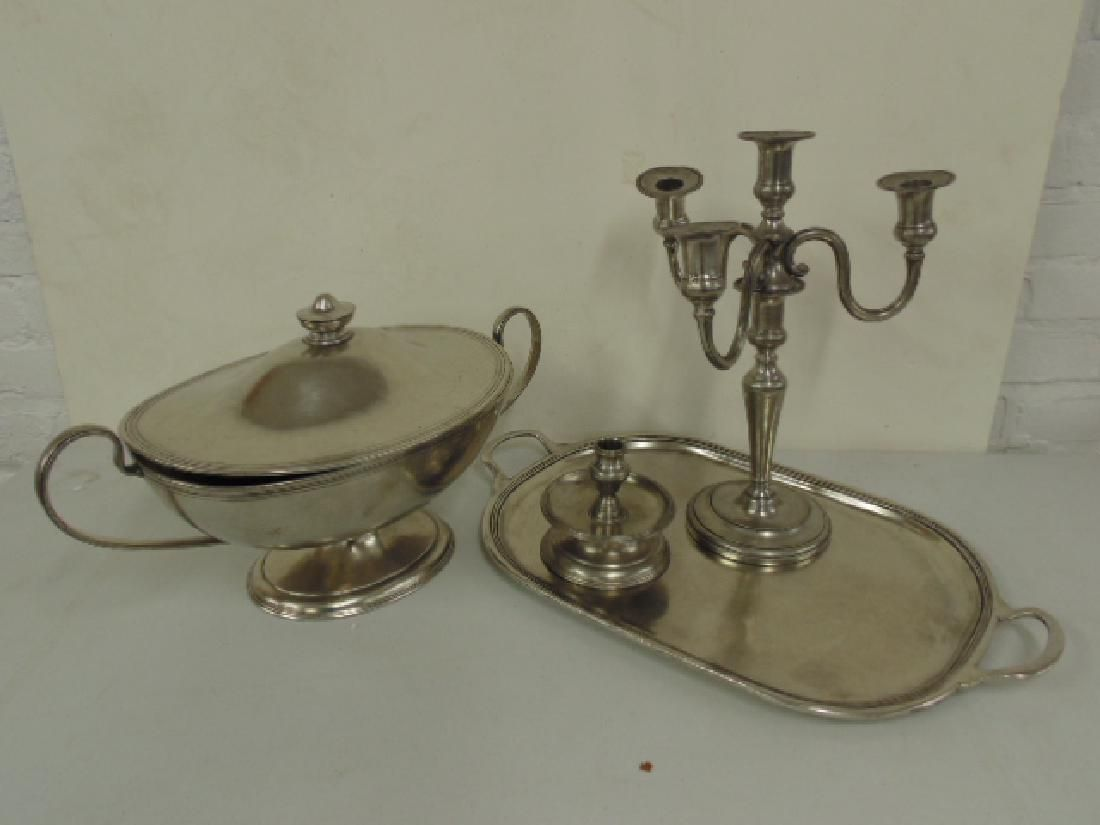 Lot Pewter, includes candelabra, Arte Italica