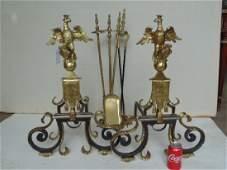 Pair large gilt bronze armorial eagle andirons