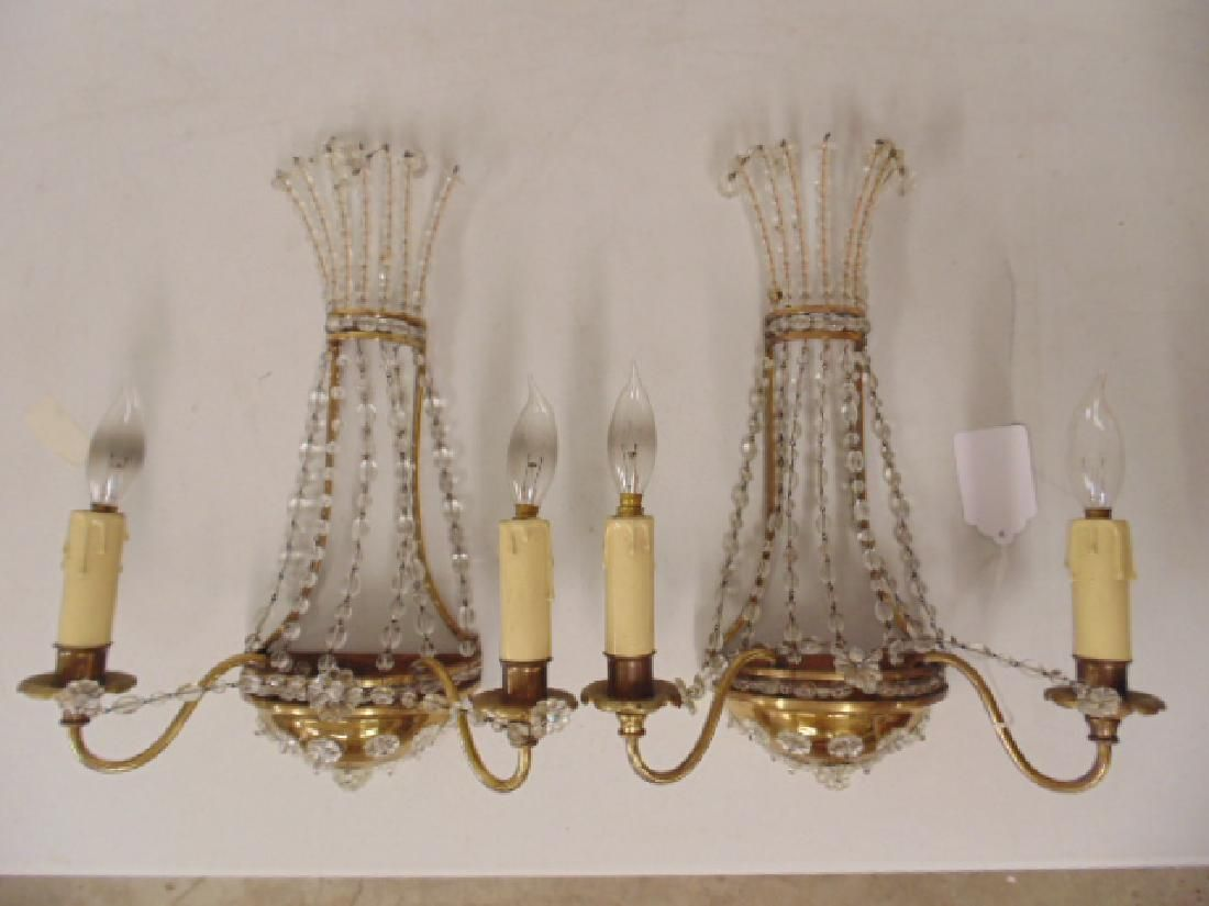 Pair French 1950's brass & crystal wall sconces