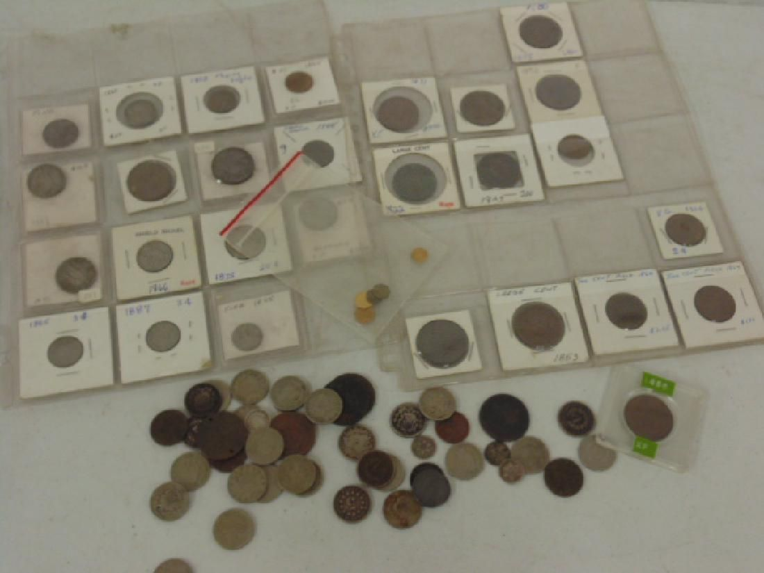 lot early coins, gold fractals, early US nickels, dimes
