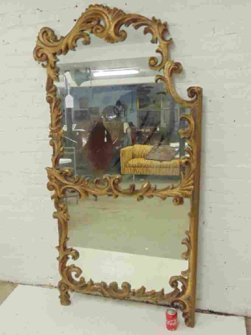 Gilt double panel mirror with ornate frame