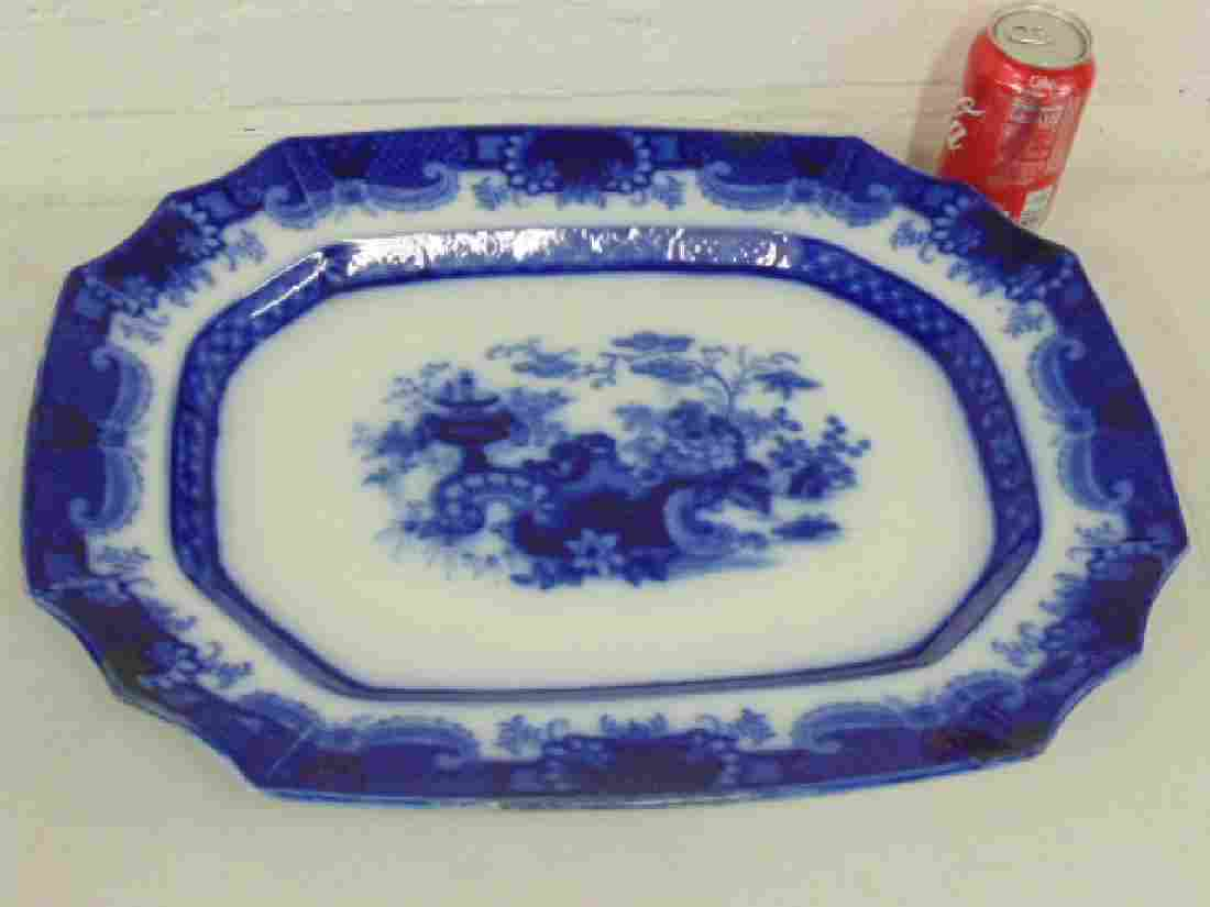 "Large 19th Century flo blue platter, 20.25"" by 16.25"""