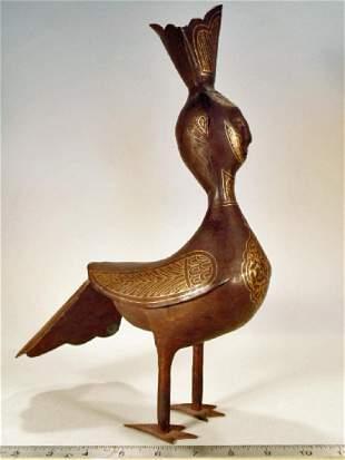 Persian Qajar metal Peacock with Damascening
