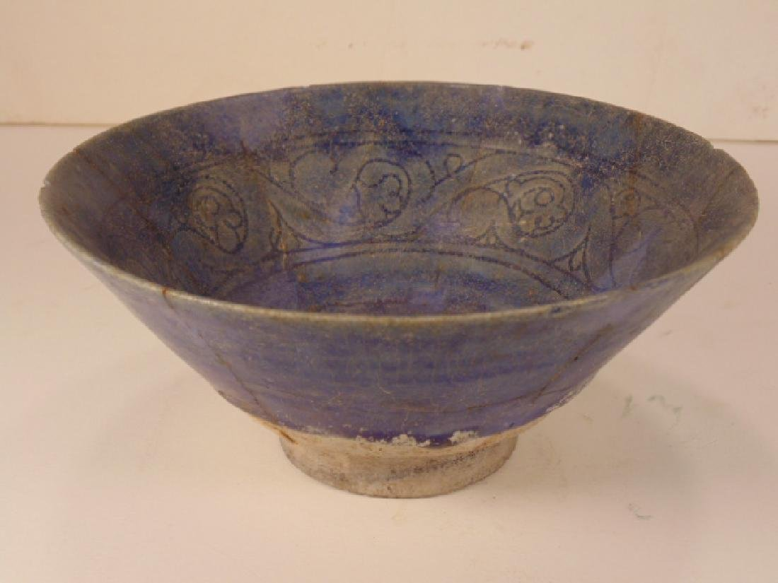 Persian Islamic ceramic bowl, Nishapur, blue interior - 2